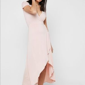 Forever 21 Pink Surplice V Neck Wrap Maxi Dress